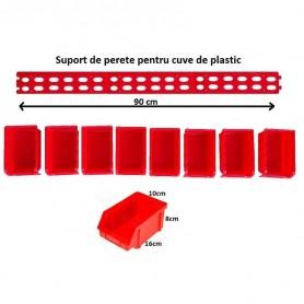 Set de 8 cutii din plastic cu suport de fixare pe perete